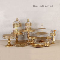 12pcs gold Cake Stand Round Cupcake Stands Metal Dessert Display with Pendants and Beads, Gold