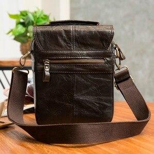 "Image 3 - Quality Original Leather Male Casual Shoulder Messenger bag Cowhide Fashion Cross body Bag 8"" Pad Tote Mochila Satchel bag 144"