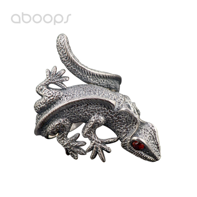 Vintage 925 Sterling Silver Reptile Lizard Ring with Red Eyes for Men Women Adjustable Free Shipping lizard сандали nes 35 red