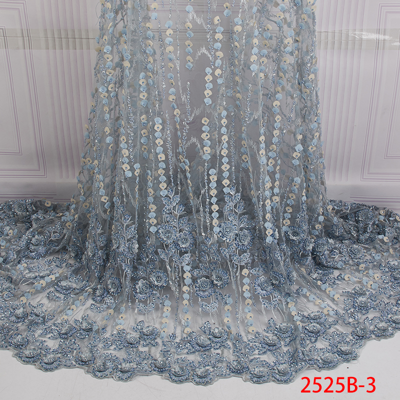 High Quality Latest Green Handmade Beads Lace Fabric 2019 Top Selling Nigerian Lace Fabric with Beads