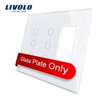 Free Shipping Livolo White Pearl Crystal Glass US Standard 3Gang 3Gang Frame Glass Panel VL C5