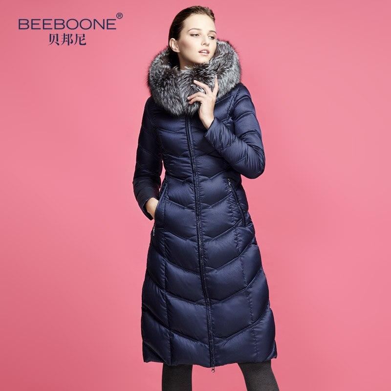 Beeboone 2016 большой Лисий мех ультра длинный пуховик женский выше колена утолщение женские куртки теплые