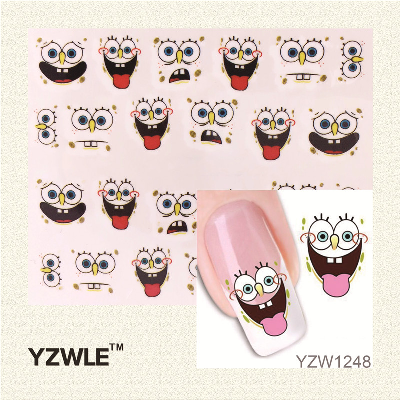 YZWLE 1 Sheet 3D Design Cute DIY Cartoon Nail Tips Water Transfer Nail Stickers, Watermark Nail Decals Manicure Tools yzwle 1 sheet cartoon watermark water transfer design nail art sticker nails decal manicure tools
