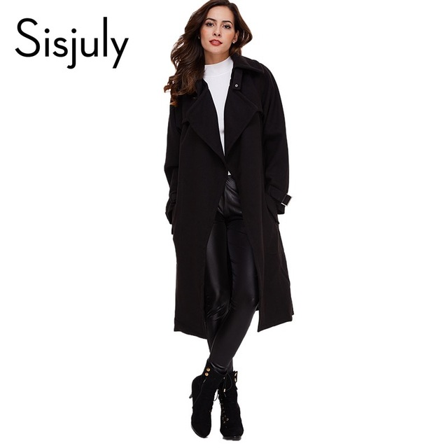 Sisjuly women autumn coat black and red solid color coat Pocket Lacing Women Casual Overcoat Belt Fashion Fall Winter coats