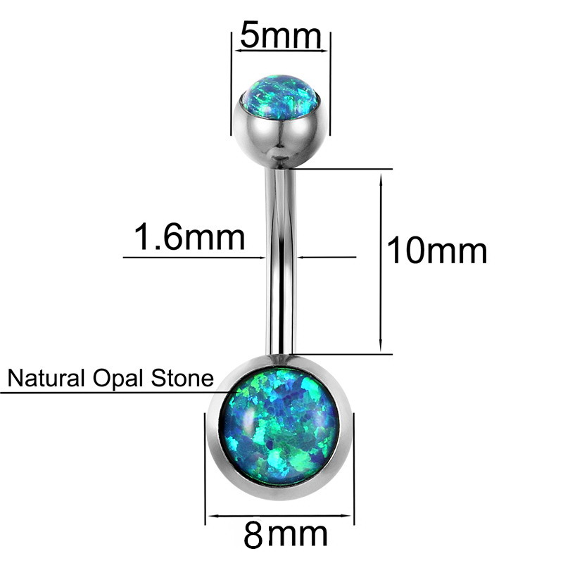 G23titan New Bellybutton Piercing Fire Opal Navel Ringe 1.6G G23 - Mode smykker - Foto 3