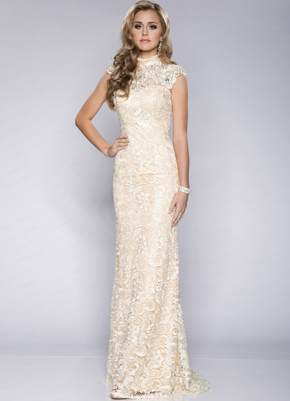 High neck long evening dress