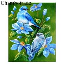 High Quality Chambotrade No Frame Birds And Flower DIY Number Linen Canvas Painting Acrylicpaint Home Decorative Modern Wall Art