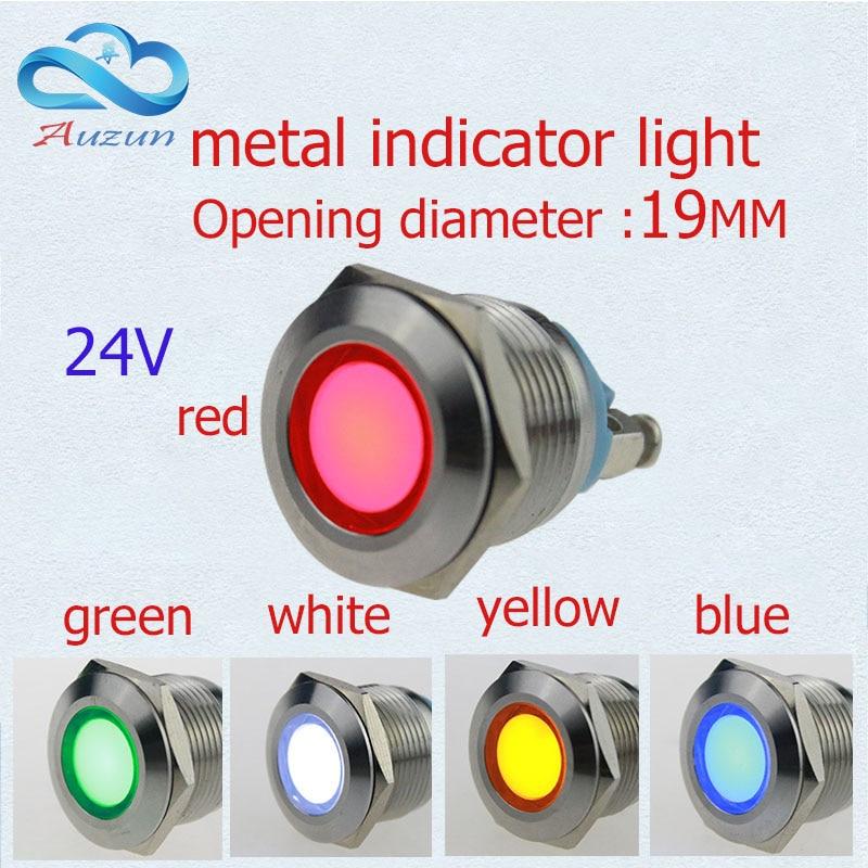 10 PCS LED Lampu Indikator logam 19mm lampu logam peringatan lampu mobil 24 v merah hijau kuning biru dan putih