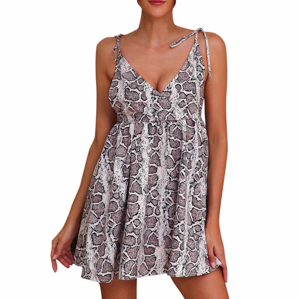 2019 сексуальное платье с открытыми плечами цветочный Для женщин со змеиным и леопардовым принтом без рукавов вечерние платье с юбкой солнце клёш и достаточный запас лето с круглым вырезом и с длинными рукавами