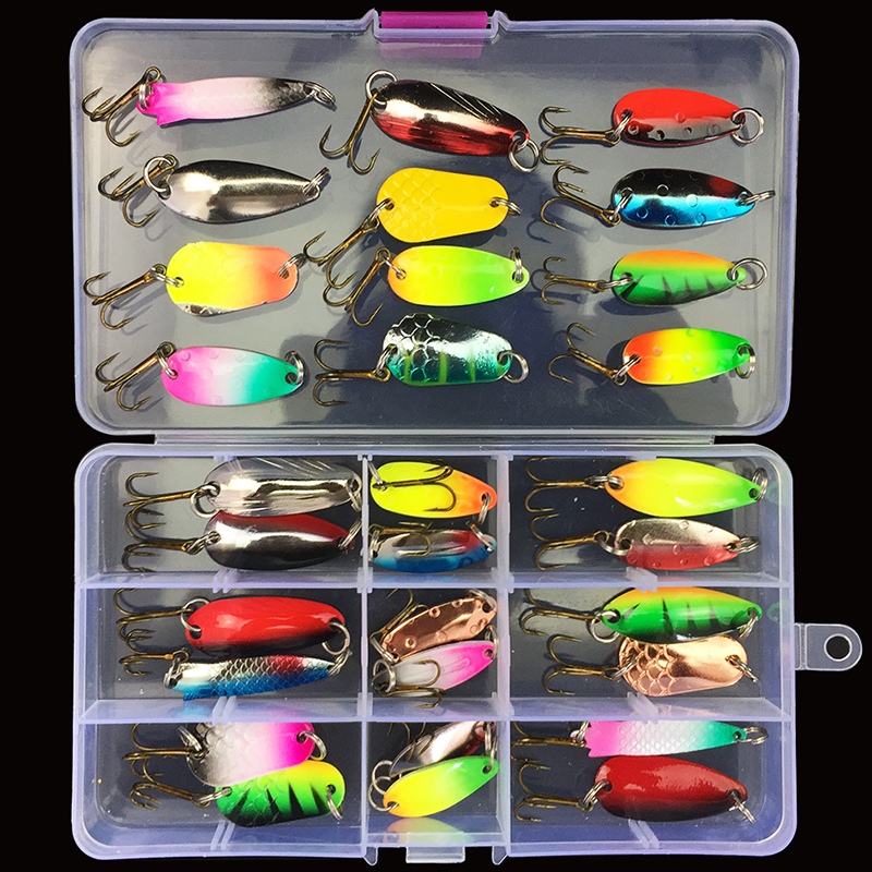 30pcs/lot Fishing Lure Spinner Bait Spoon Lure Metal Baits Treble Hook Isca Artificial Fish Wobble Carp Spinnerbait Pesca Peche 1pcs fishing lure pesca mepps spinner bait spoon lures with mustad treble hooks peche jig anzuelos isca pesca hq048