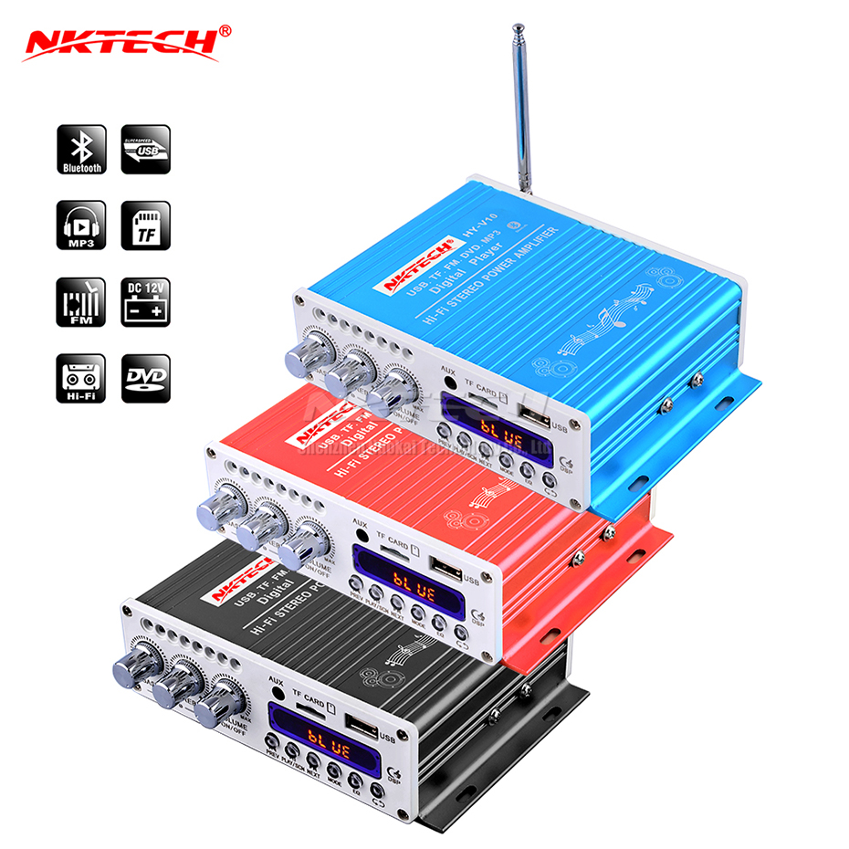 NKTECH <font><b>HY</b></font>-<font><b>V10</b></font> Bluetooth Car Power Amplifier Digital Player Hi-Fi Stereo 2CH 20W RMS Mini Audio MP3 FM TF USB Music Tube Home AMP image