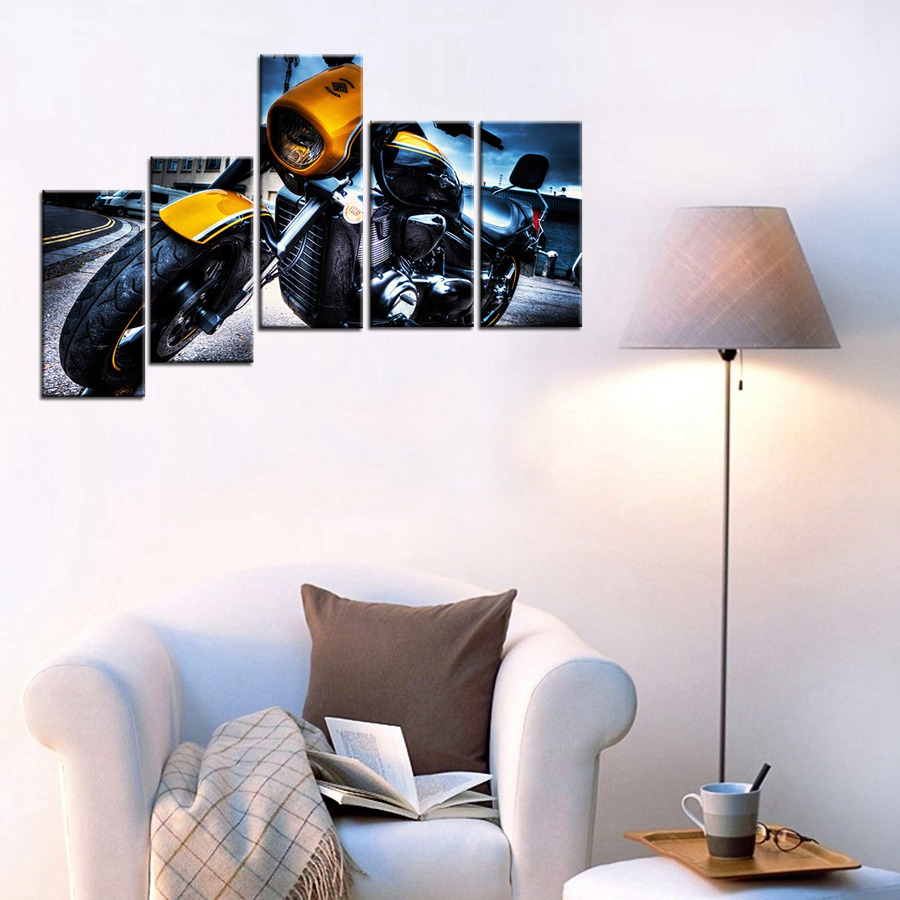 3d poster design online - Fashion Motorcycle 3d Oil Painting On Canvas Wall Art For Bedroom Home Decor Giclee Wall Art Poster Modular Painting Wholesale