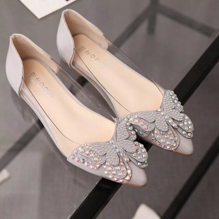borboleta bailarina bling senhoras sapatos de cristal