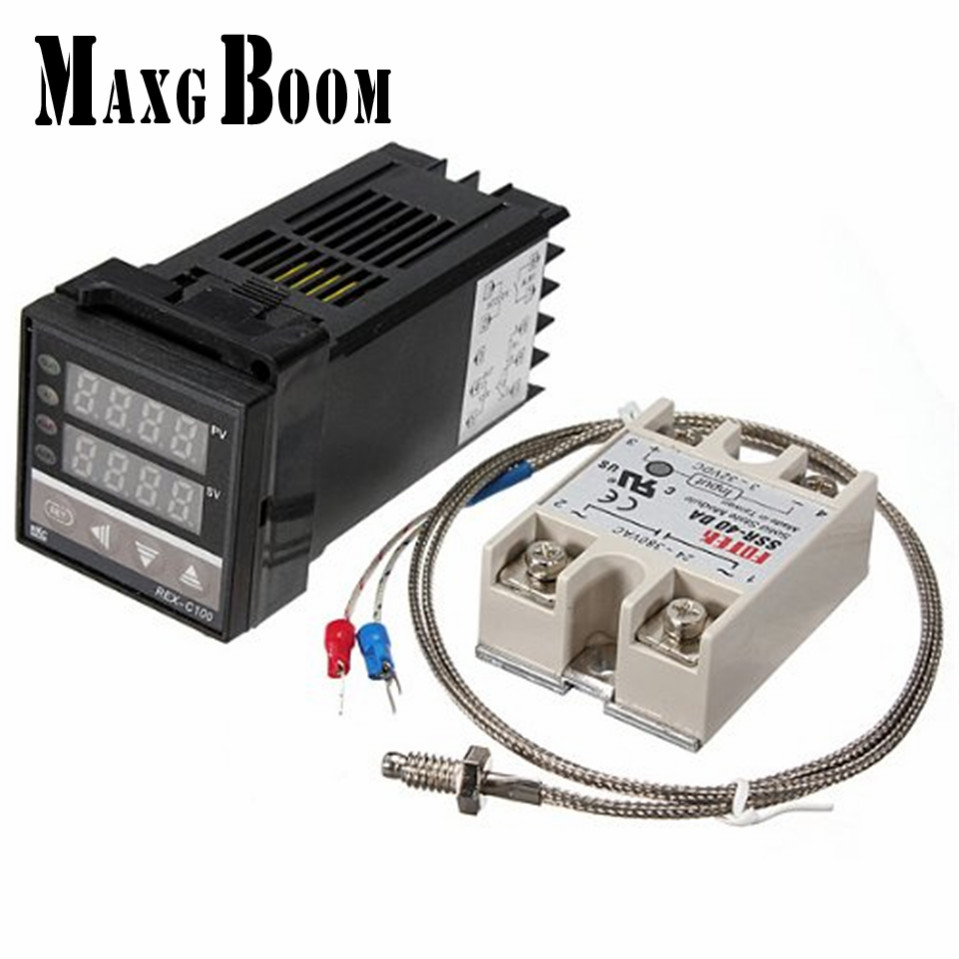 MaxgBoon Dual Digital PID Temperature Controller Thermostat REX-C100 thermocouple K, SSR 40A , SSR-40DA free shipping rex c100 digital pid temperature control controller thermostat thermometer relay output