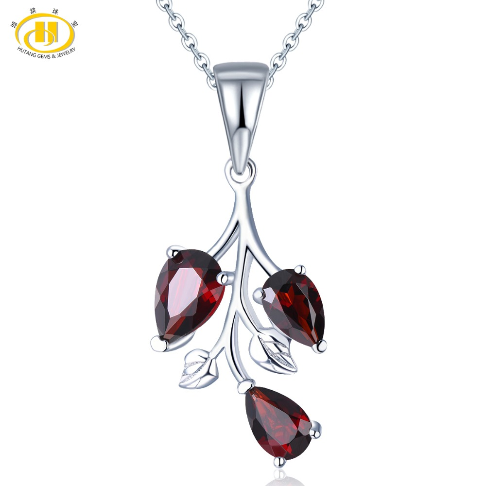 Hutang Garnet Women's Pendant Solid 925 Sterling Silver Chain Natural Red Gemstone Fine Elegant Jewelry New Arrival For Gift