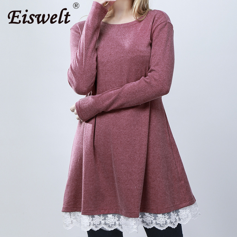 EISWELT Women Dress Casual Vestidos Fit Ladies Elegant Lace Solid Bodycon Dress Spring Evening Party Long Sleeve Autumn Dress