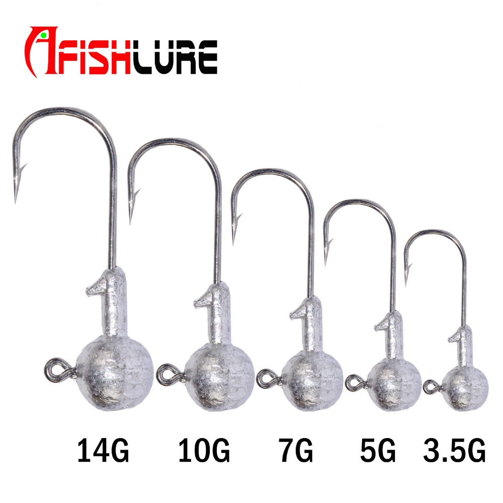 5pcs/lot Primary lead head hook  3.5g/5g/7.0g/10g/14g soft bait hooks soft hook worm softbait hook lead weight  fishing tackle