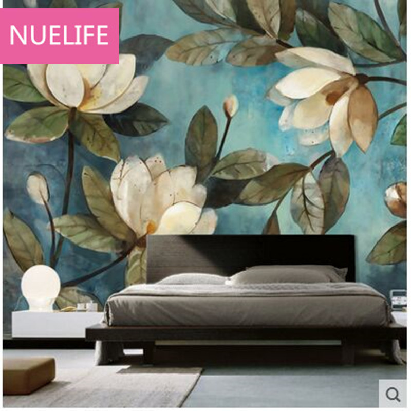0.53x10m  painted Magnolia Oil painting large mural living room bedroom restaurant TV sofa background  wallpaper free shipping large mural wallpaper villa living room ceiling european oil painting wallpaper