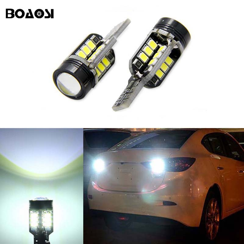 BOAOSI 2x T15 W16W LED 2835 Chip Canbus backup reverse light lamp For Mazda 6 8 cx-3 cx3 cx-5 cx5 8 cx 5 m8 rx8 mazda m5 2008 deechooll 2pcs wedge light for mazda 2 3 5 6 mx5 rx8 cx7 626 gf gg ge gw canbus t10 57smd 6w led clearance xenon lighting bulbs