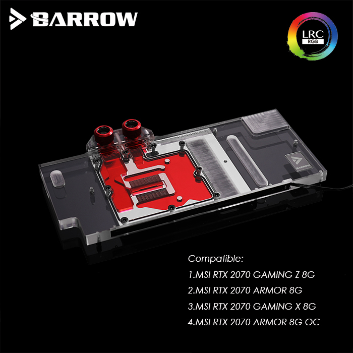 Barrow MSI RTX 2070 GAMING Z 8G X 8G ARMOR 8G OC graphics card water Block