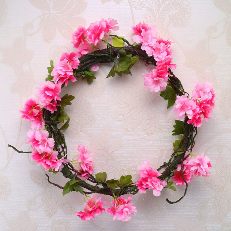 Image 5 - 230cm Silk Sakura Cherry Blossom Vine Lvy Wedding Arch Decoration Layout Home Party Rattan Wall Hanging Garland Wreath Slingers-in Artificial & Dried Flowers from Home & Garden