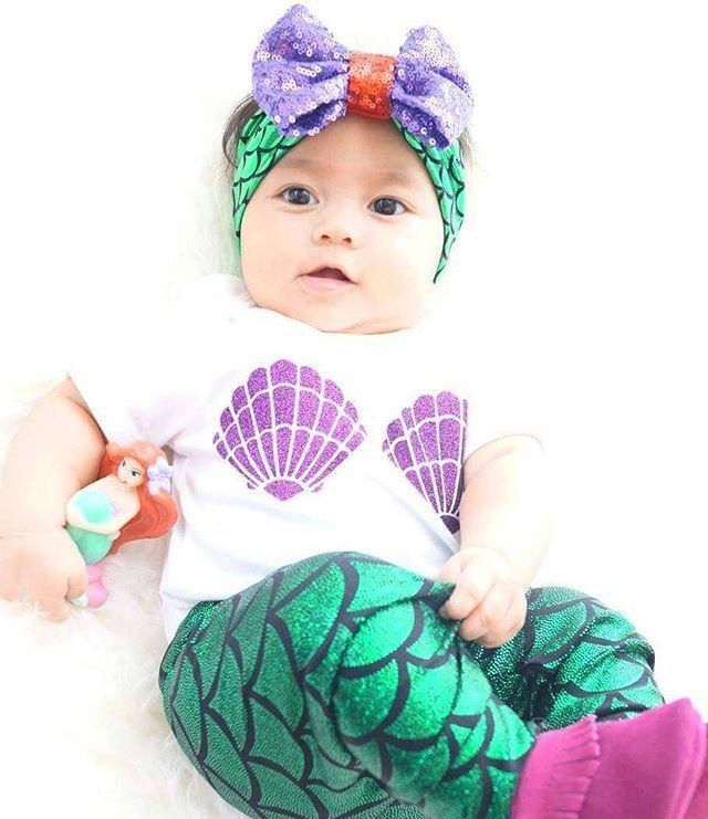 f0d359fd5b450 3pcs Clothes Sets T shirt + Mermaid Leggings Pants Head bands Newborn Baby  Girls Shell Tops Outfits Set Baby Girl 0 24M-in Clothing Sets from Mother &  Kids ...