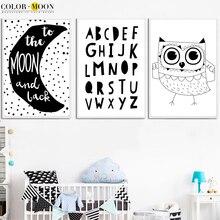 BARVY Leto Owl Nordic Plakát Wall Umělecké plátno Posters a výtisky Wall Obrázky Dětský pokoj Domácí Dekorace Černá Bílá