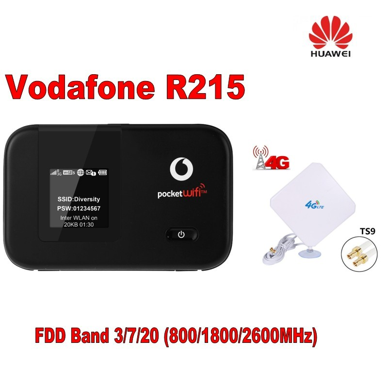 R215 LTE Mobile WiFi Router cat4 mobile wifi hotspot huawei R215 4g lte+Booster mimo white 35dbi panel 4g antenna tp link tl wdr8400 wifi router dual band 7 antenna 2 4g 5ghz 2200mpbs super fast wireless router mu mimo pa lna ac2200