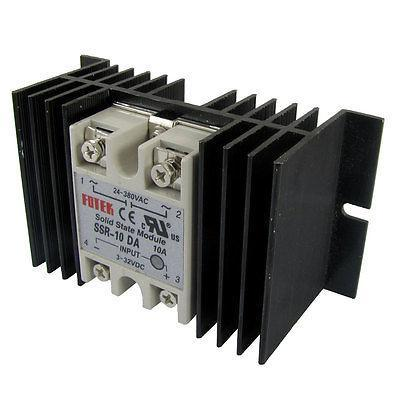 Single Phase Solid State Relay SSR-10DA 10A 3-32V DC 24-380V AC with hest sink high quality ac ac 80 250v 24 380v 60a 4 screw terminal 1 phase solid state relay w heatsink