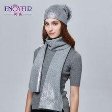 ENJOYFUR mujeres sombrero de invierno y bufanda conjunto moda Cashmere alta  calidad Fur Pompom sombrero femenino 571c371e7bf