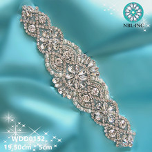 (1 piece)Hand sew beaded bridal rose gold clear crystal rhinestone applique  for wedding d4839f37112e