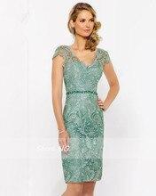 Dressgirl Grün Cocktailkleider 2017 Mantel V-ausschnitt Kappen-hülsen Perlen Spitze Schärpe Backless Short Mini Homecoming Kleider