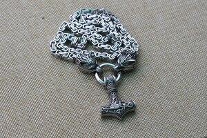 Image 5 - 남자 스테인레스 스틸 목걸이 토르의 망치와 바이킹 늑대 머리 mjolnir 펜던트 norse talisman ethnic jewelry