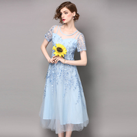 Women S Wear Yarn Embroidered Chiffon Pink Light Blue Beautiful Slim Dress Female Belt Formal Women