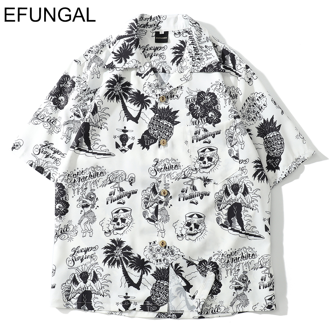 EFUNGAL Skull Print Hawaiian Shirts Men 2019 Summer Hip Hop Streetwear Harajuku Tees Shirts Casual Short Sleeve Tops Beach Shirt