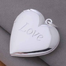 Free ShippingSilver plated  Necklaces & Pendants Fashion Silver Jewelry heart and love /cmzalega dzlamqsa AN737
