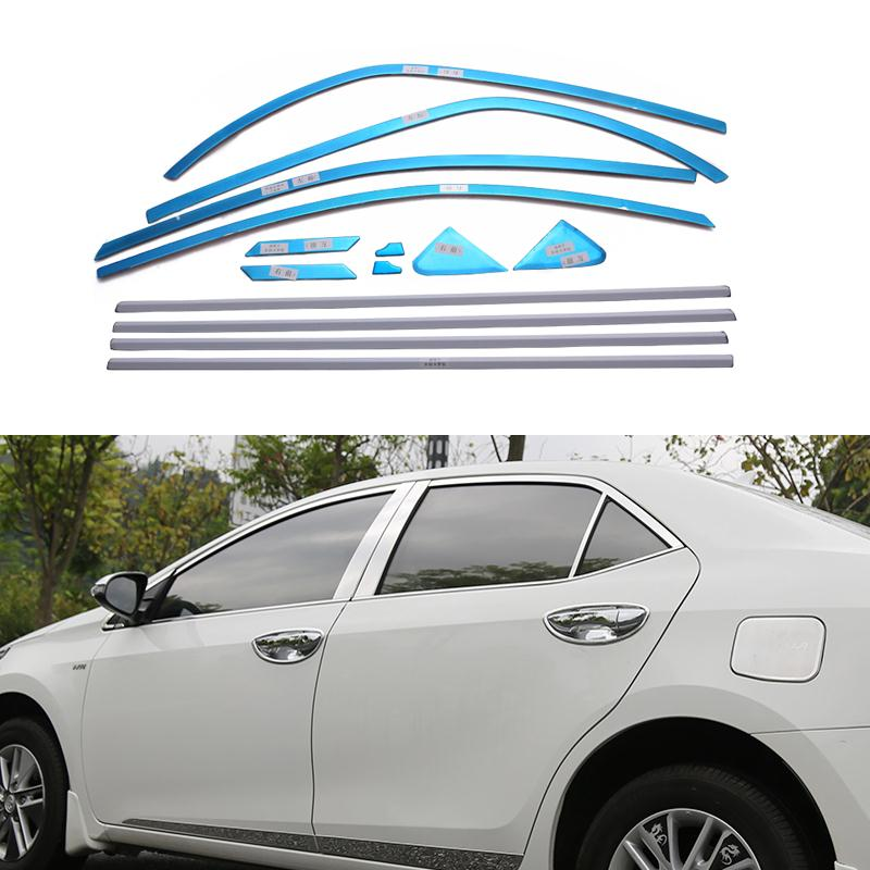 Full Window Trim Decoration Strips For Toyota Corolla 2013 2014 2015 Stainless Steel Car Styling Car-cover Car-styling 0em-14-20 stainless steel side door body molding cover trim for toyota 11th corolla e170 2013 2014