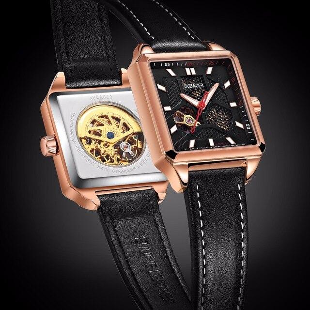 19d4d186758 Arquiteto Oubaoer Série Esqueleto Mecânico Automático Assista Men Marca de  Luxo em Ouro Rosa Relógio Masculino