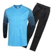 Hot Sale Breathable Quick Dry Boys Soccer Training Suit Kids Goalkeeper Jersey Set Long Sleeve Goalkeeper Shirts Pants Uniforms