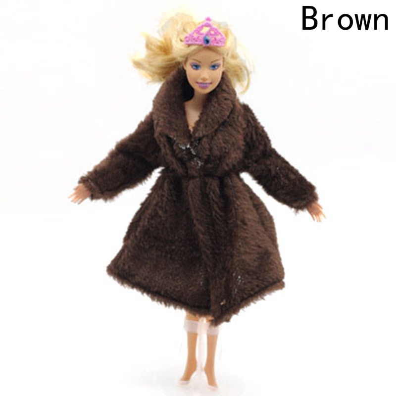 Doll Accessories Winter Wear Warm Fur Coat Dress Clothes For Dolls Fur Doll Clothing For Doll Kids Toy #5