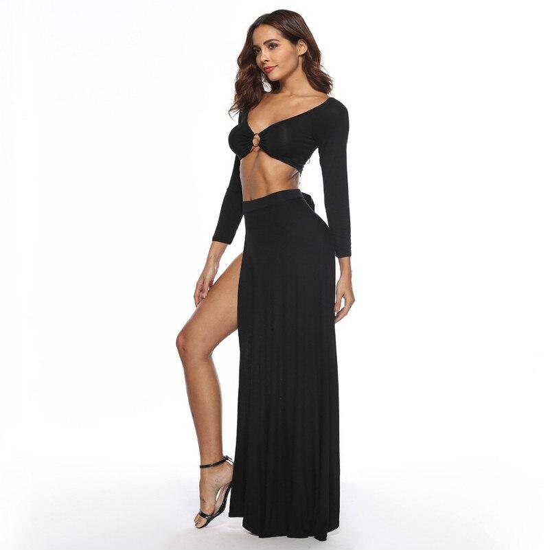 f72fe43ed9 Kleider Robe Muxu Carburant Sexy Manches Robes Deux Patchwork Black Femme  D'été Noir Longues Streetwear ...