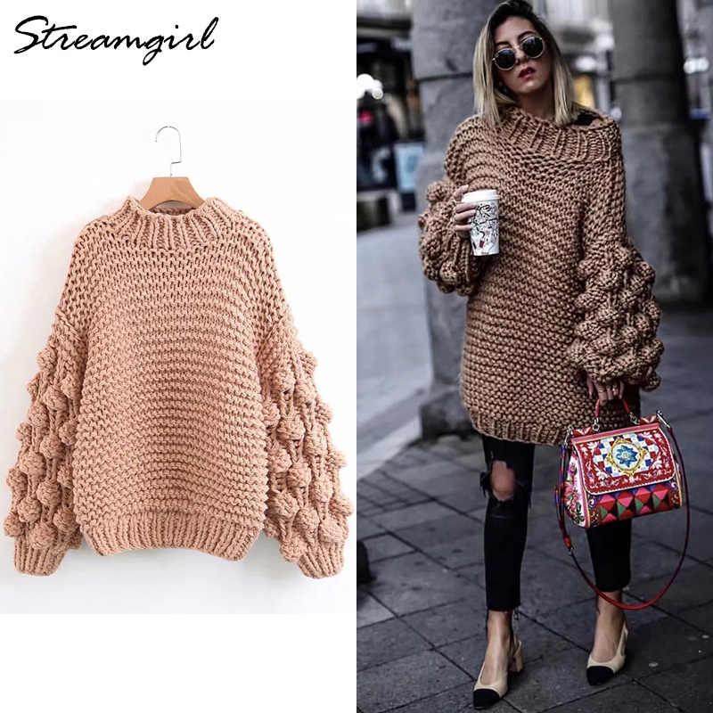 63017c49b4b Свитер ручной работы Для женщин вязать Фонари рукавом негабаритных свитера  грубой вязки свитера для Для женщин