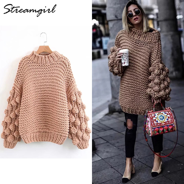 93244d09f5849 Handmade Sweater Women Knit Lantern Sleeve Oversized Sweater Coarse Knitted  Sweaters For Women Sweaters With Balls