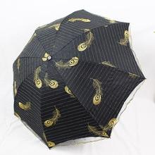 Embroidered tri-fold umbrella feathers Phnom Penh sunscreen UV protection shades black plastic double mesh folding