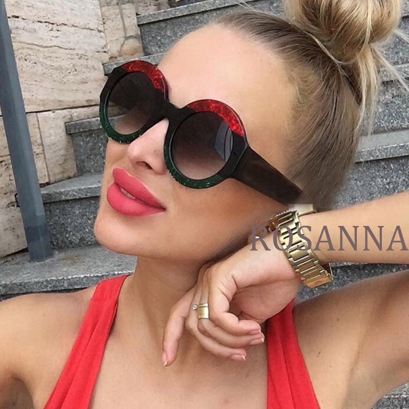 18 Cristal Mulheres Óculos Redondos Quadro Óculos De Sol Das Mulheres de  Três Cores Verde Vermelho 2b823a8559