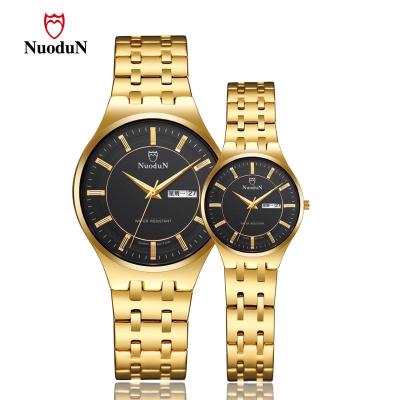 Mens Watches Top Brand Luxury Golden Couple Watch Fashion Lover Quartz Watch Men Women Waterproof Date Clock Relogios Masculino