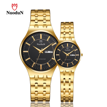 Mens Watches Top Brand Luxury Golden Couple Watch Fashion Lover Quartz Watch Men Women Waterproof Date Clock Relogios Masculino womage origin luxury brand unisex watches rose gold case watch wrist relogios quartz women dress wristwatches day date clock