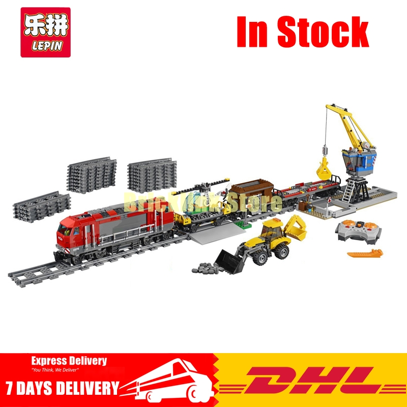 Lepin 02009 1033pcs City Engineering Remote Control RC Train Building Block Compatible 60098 Brick Toy lepin 02009 city engineering remote control rc train model