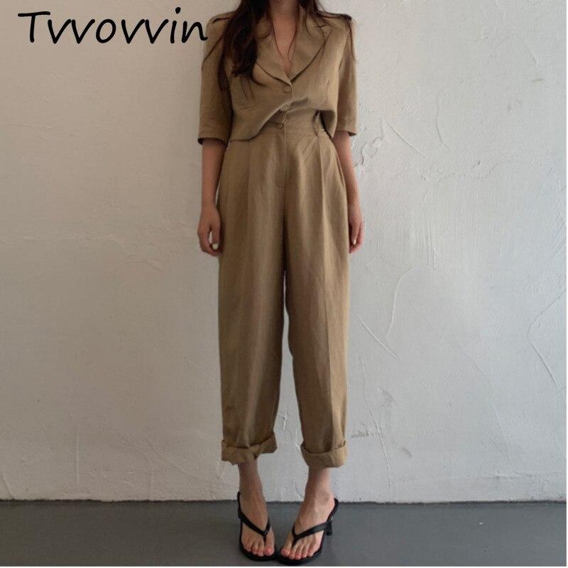 Women Suits Solid Loose Short Sleeve Wide Leg Pants Office Lady Women Sets Summer Koreatide 2019