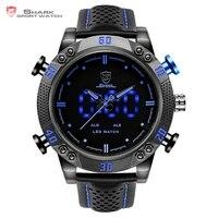 Kitefin Shark Series Blue LED Back Light Auto Date Display Leather Strap Quartz Digital Outdoor Sport